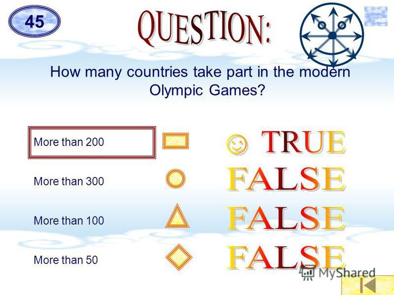 How many countries take part in the modern Olympic Games? More than 200 More than 300 More than 100 More than 50 45
