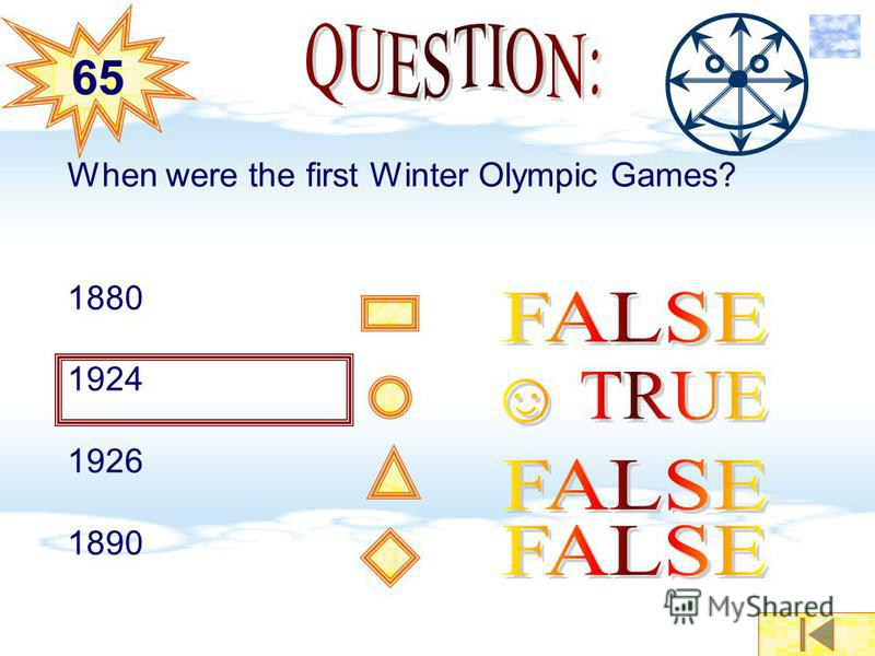When were the first Winter Olympic Games? 1880 1924 1926 1890 6565