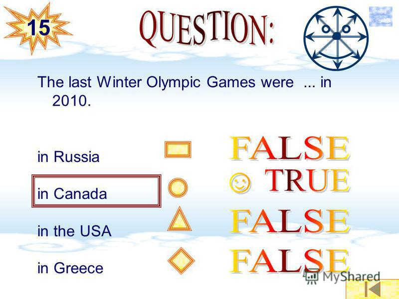 The last Winter Olympic Games were... in 2010. in Russia in Canada in the USA in Greece 15