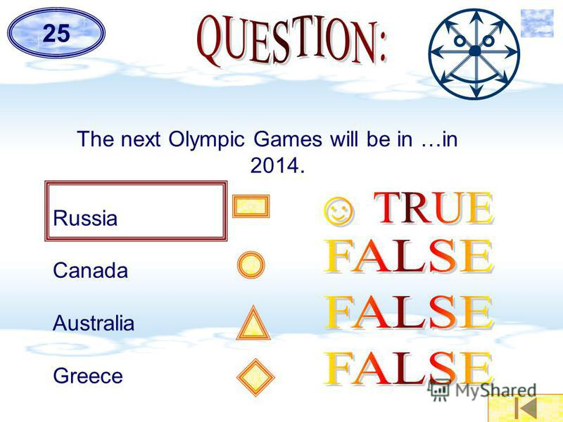 The next Olympic Games will be in …in 2014. Russia Canada Australia Greece 25