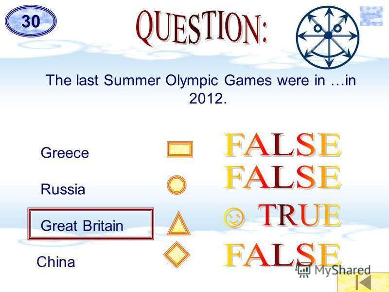 The last Summer Olympic Games were in …in 2012. Greece Russia Great Britain China 30