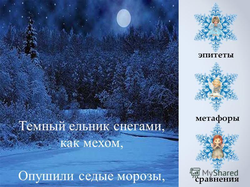 Темный ельник снегами, как мехом, Опушили седые морозы, эпитеты метафоры сравнения