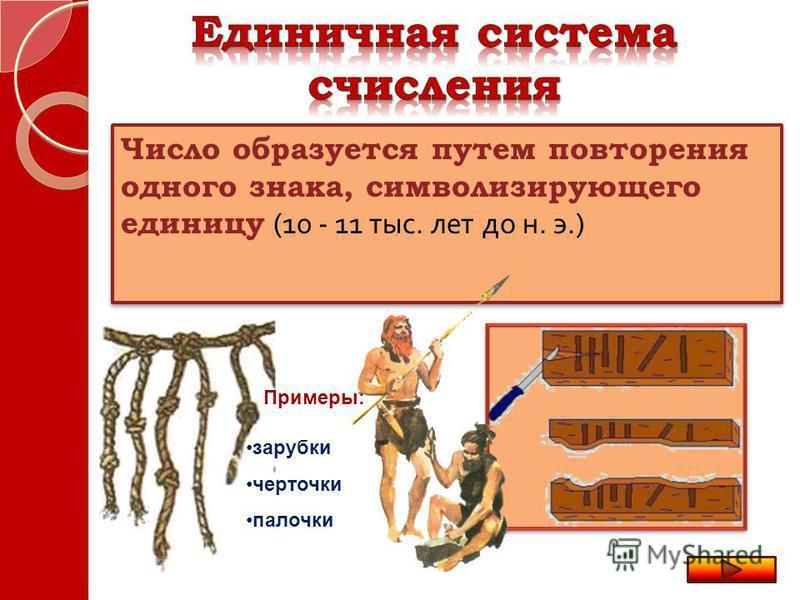 Число образуется путем повторения одного знака, символизирующего единицу (10 - 11 тыс. лет до н. э.) зарубки черточки палочки Примеры: