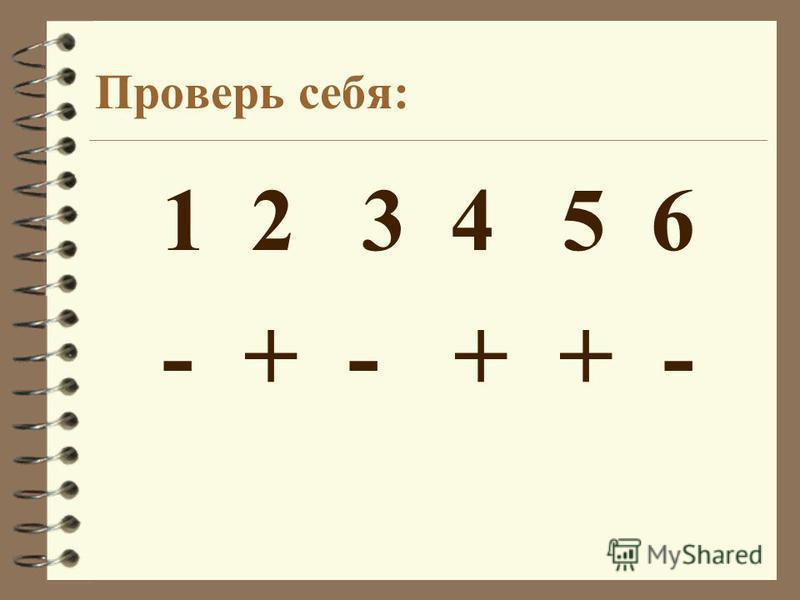 Проверь себя: 1 2 3 4 5 6 - + - + + -