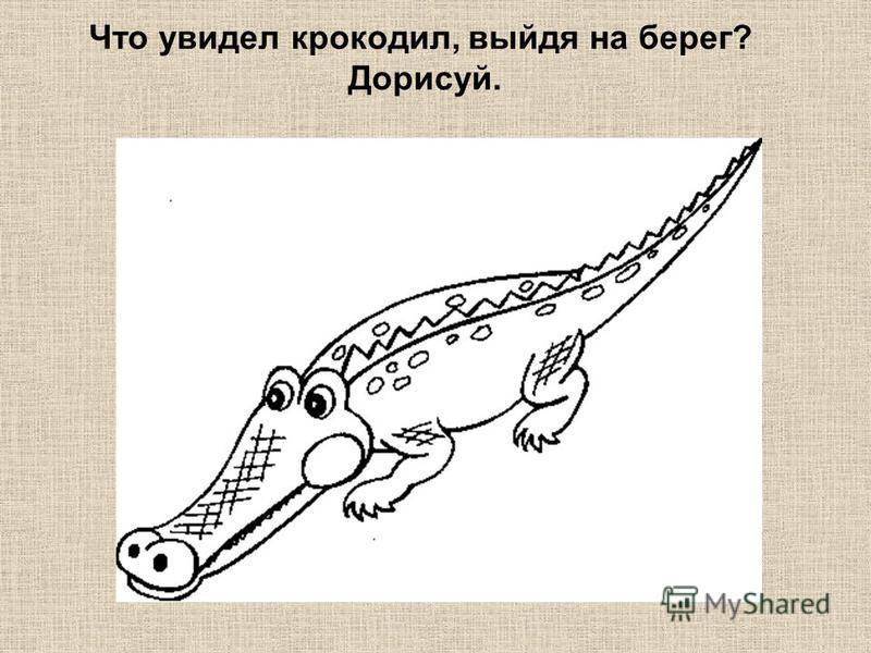 Что увидел крокодил, выйдя на берег? Дорисуй.