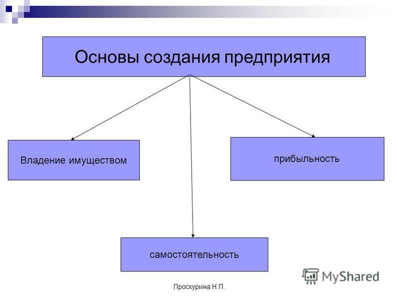 Проскурина Н.П. Основы создания предприятия Владение имуществом прибыльность самостоятельность