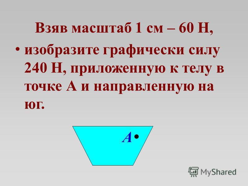 Взяв масштаб 1 см – 60 Н, изобразите графически силу 240 Н, приложенную к телу в точке А и направленную на юг. А