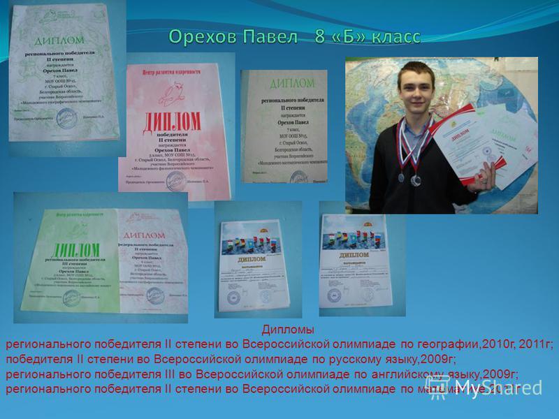 Дипломы регионального победителя II степени во Всероссийской олимпиаде по географии,2010 г, 2011 г; победителя II степени во Всероссийской олимпиаде по русскому языку,2009 г; регионального победителя III во Всероссийской олимпиаде по английскому язык