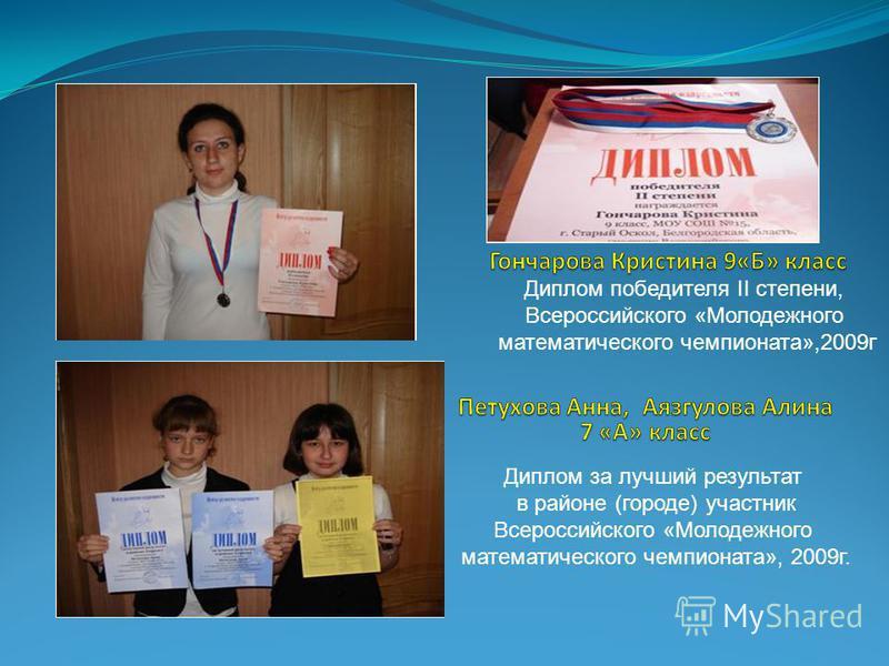 Диплом победителя II степени, Всероссийского «Молодежного математического чемпионата»,2009 г Диплом за лучший результат в районе (городе) участник Всероссийского «Молодежного математического чемпионата», 2009 г.