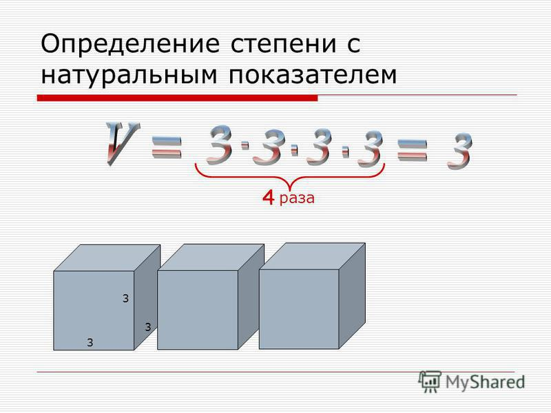 Определение степени с натуральным показателем 3 3 3 4 раза 4