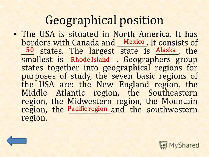 The United States of America Geographical position Symbols Sights Capital Holidays Famous people