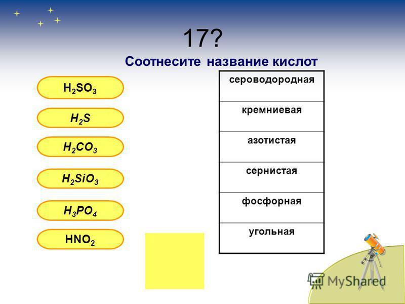 17? H 2 SO 3 H2SH2S H 2 CO 3 H 2 SiO 3 H 3 PO 4 HNO 2 Соотнесите название кислоот сероводородная кремниевая азотистая сернистая фосфорная угольная