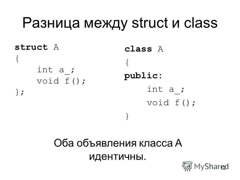 12 Разница между struct и class struct A { int a_; void f(); }; class A { public: int a_; void f(); } Оба объявления класса A идентичны.