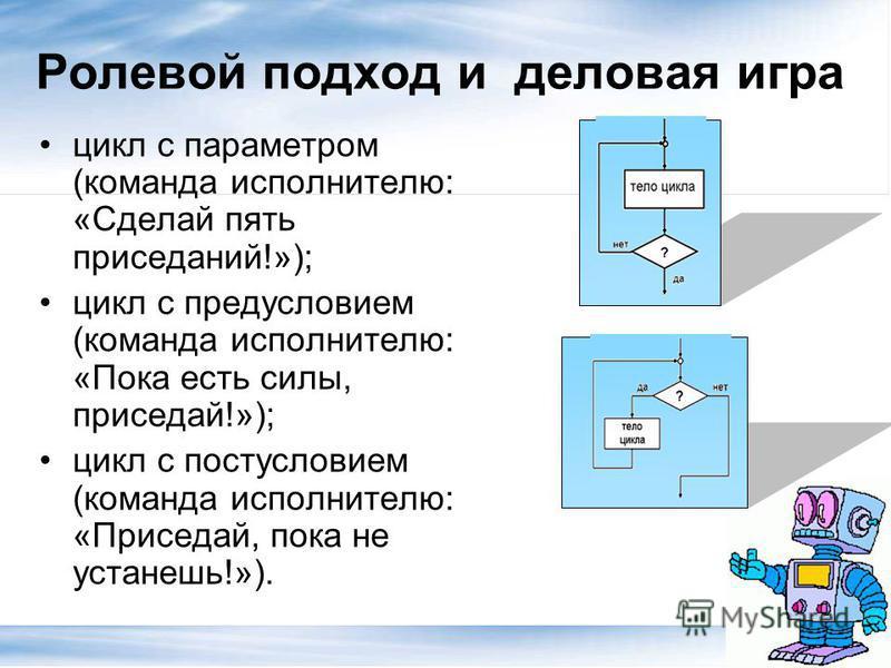 Ролевой подход и деловая игра цикл с параметром (команда исполнителю: «Сделай пять приседаний!»); цикл с предусловием (команда исполнителю: «Пока есть силы, приседай!»); цикл с постусловием (команда исполнителю: «Приседай, пока не устанешь!»).