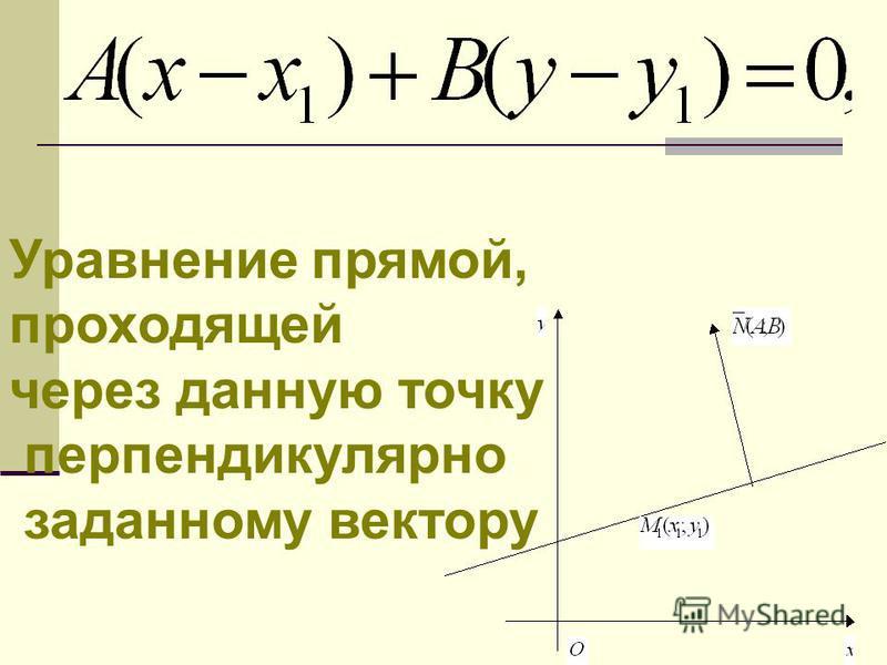 Уравнение прямой, проходящей через данную точку перпендикулярно заданному вектору