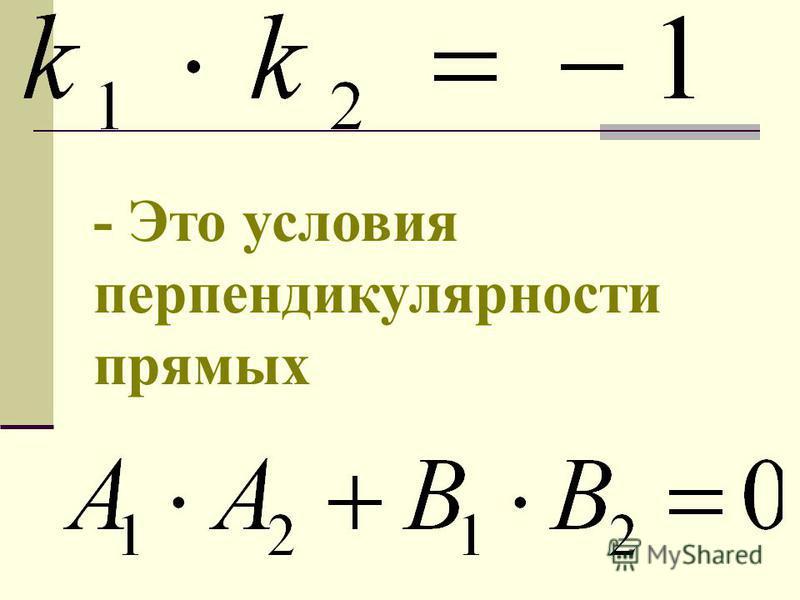 - Это условия перпендикулярности прямых