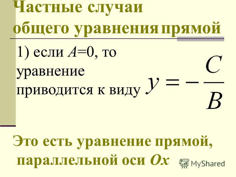 Частные случаи общего уравнения прямой 1) если А=0, то уравнение приводится к виду Это есть уравнение прямой, параллельной оси Ох