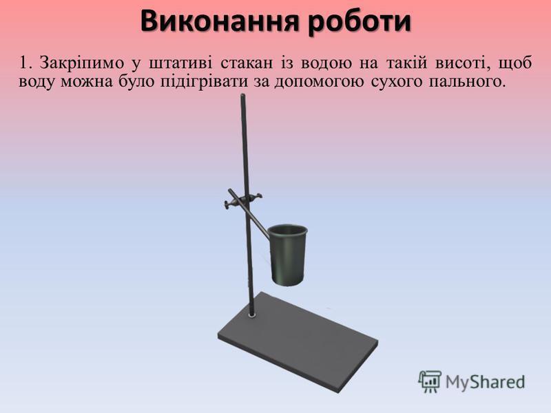 Обладнання Мензурка Термометр Посудина з водою Таблетка сухого пального