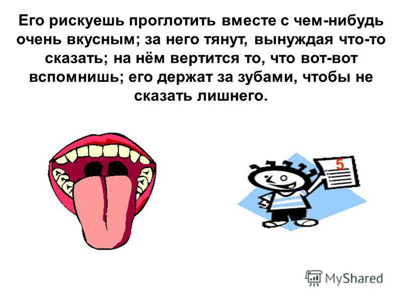 Его рискуешь проглотить вместе с чем-нибудь очень вкусным; за него тянут, вынуждая что-то сказать; на нём вертится то, что вот-вот вспомнишь; его держат за зубами, чтобы не сказать лишнего. 5