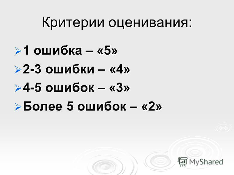 Критерии оценивания: 1 ошибка – «5» 1 ошибка – «5» 2-3 ошибки – «4» 2-3 ошибки – «4» 4-5 ошибок – «3» 4-5 ошибок – «3» Более 5 ошибок – «2» Более 5 ошибок – «2»