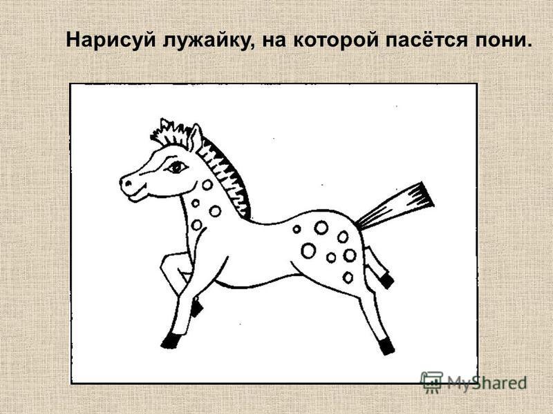 Нарисуй лужайку, на которой пасётся пони.