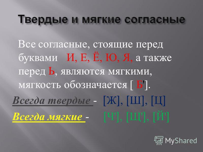 Все согласные, стоящие перед буквами И, Е, Ё, Ю, Я, а также перед Ь, являются мягкими, мягкость обозначается [ Б ']. Всегда твердые - [ Ж ], [ Ш ], [ Ц ] Всегда мягкие - [ Ч '], [ Щ '], [ Й ']