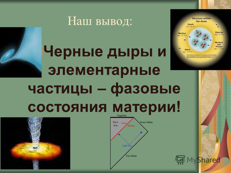 Наш вывод: Черные дыры и элементарные частицы – фазовые состояния материи!