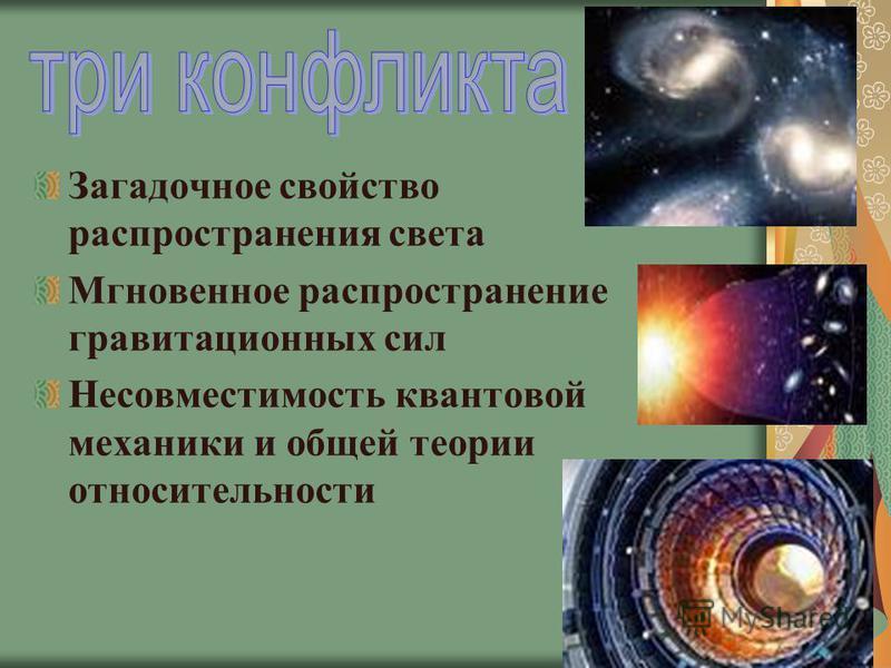 Загадочное свойство распространения света Мгновенное распространение гравитационных сил Несовместимость квантовой механики и общей теории относительности