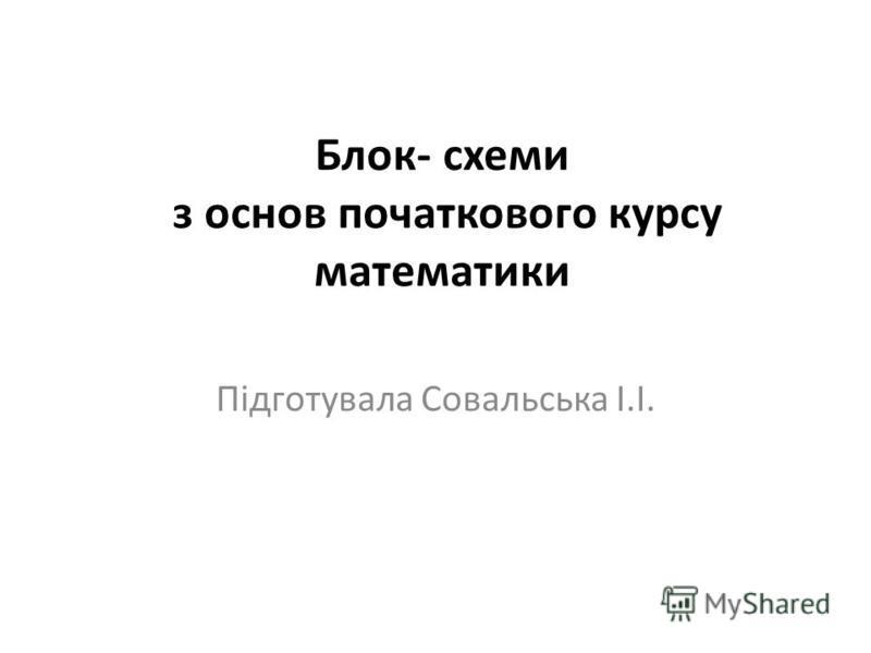 Блок- схеми з основ початкового курсу математики Підготувала Совальська І.І.
