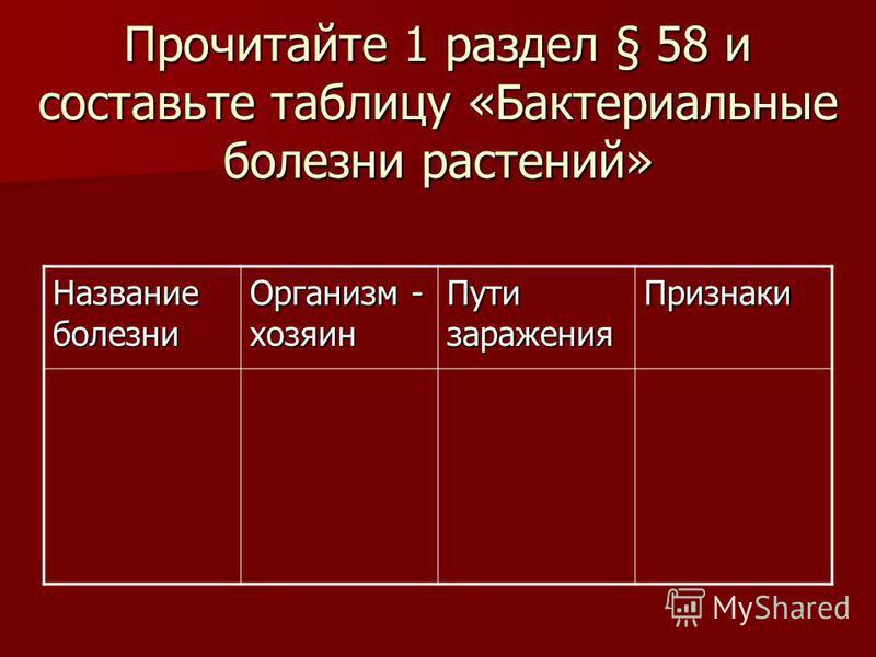 Прочитайте 1 раздел § 58 и составьте таблицу «Бактериальные болезни растений» Название болезни Организм - хозяин Пути заражения Признаки