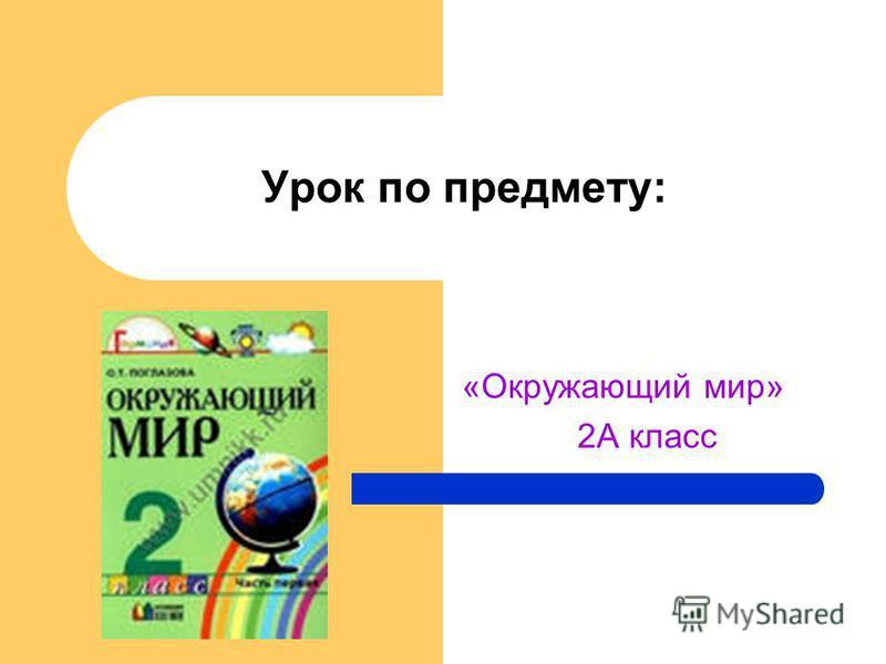 Урок по предмету: «Окружающий мир» 2А класс