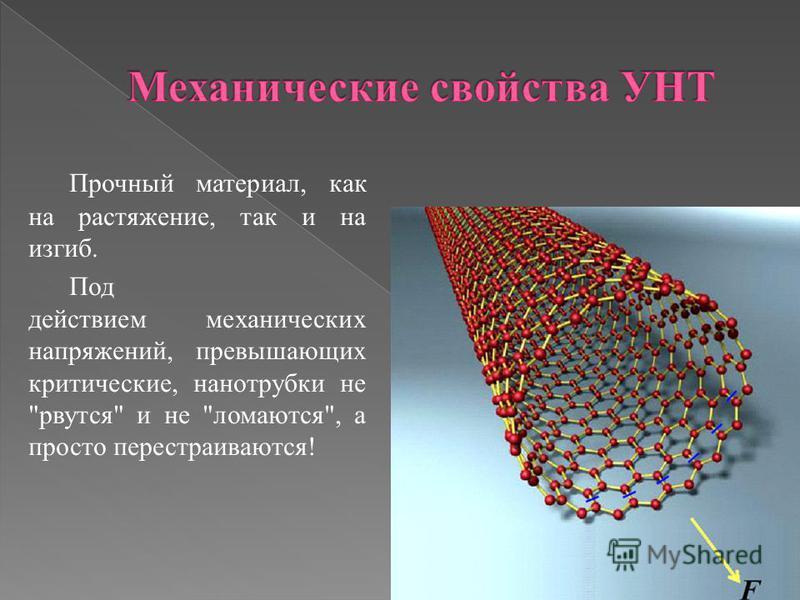 Прочный материал, как на растяжение, так и на изгиб. Под действием механических напряжений, превышающих критические, нанотрубки не рвутся и не ломаются, а просто перестраиваются!