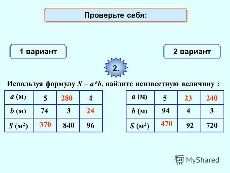 1 вариант 2 вариант 2. Используя формулу S = a*b, найдите неизвестную величину : a (м ) S (м 2 ) 74 5 840 4 96 b (м ) 3 a (м ) S (м 2 ) 94 5 92720 4b (м ) 3 370 Проверьте себя: 470 28023 24 240