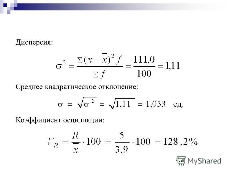 Дисперсия: Среднее квадратическое отклонение: Коэффициент осцилляции: