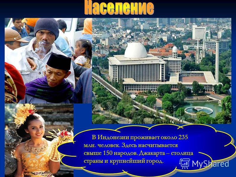 В Индонезии проживает около 235 млн. человек. Здесь насчитывается свыше 150 народов. Джакарта – столица страны и крупнейший город. В Индонезии проживает около 235 млн. человек. Здесь насчитывается свыше 150 народов. Джакарта – столица страны и крупне