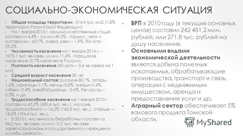 СОЦИАЛЬНО-ЭКОНОМИЧЕСКАЯ СИТУАЦИЯ Общая площадь территории - 314.4 тыс. км 2 (1.8% территории Российской Федерации) На 1 января 2013 г. сельскохозяйственные угодья составили 4.4% - (из них 49.3% - пашни), леса и кустарники - 63.7%, озера, реки – 1.9%,