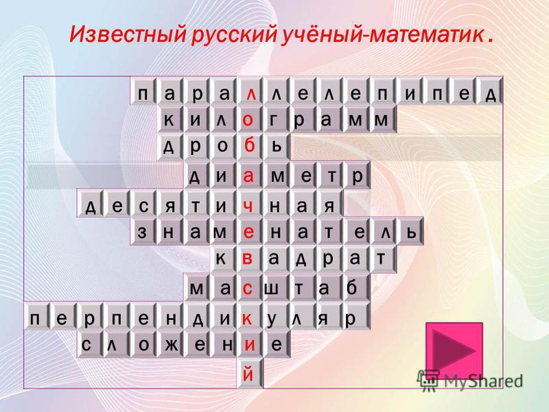 п а р а л л е л е п и п е д Арифметическое действие. к и л о г р а м м дробь д и а м е т р д е с я т и ч н а я знаменатель к в а д р а т м а с ш т а б п е р п е н д и к у л я р с л о ж е н и е 1 2 3 4 Геометрическое тело. 5 6 7 8 9 10 Мера измерения