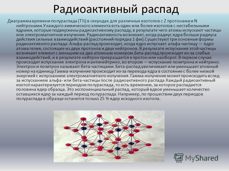 Радиоактивный распад Диаграмма времени полураспада (T½) в секундах для различных изотопов с Z протонами и N нейтронами.У каждого химического элемента есть один или более изотопов с нестабильными ядрами, которые подвержены радиоактивному распаду, в ре