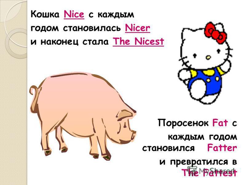 Кошка Nice c каждым годом становилась Nicer и наконец стала The Nicest Поросенок Fat с каждым годом становился Fatter и превратился в The Fattest