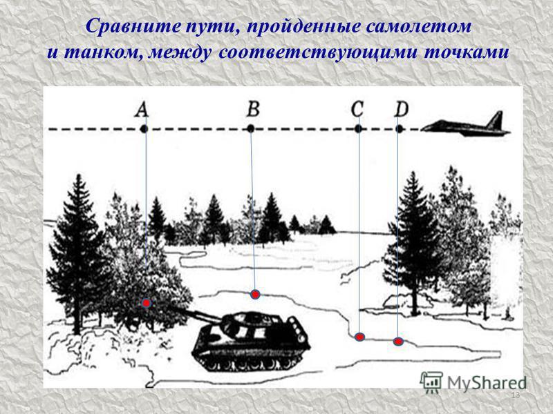 13 Сравните пути, пройденные самолетом и танком, между соответствующими точками