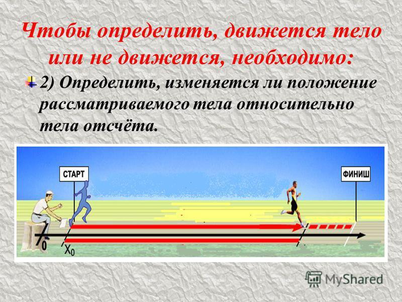 Чтобы определить, движется тело или не движется, необходимо: 2) Определить, изменяется ли положение рассматриваемого тела относительно тела отсчёта. 5