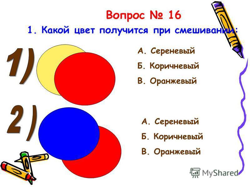 Вопрос 16 1. Какой цвет получится при смешивании: А. Сереневый Б. Коричневый В. Оранжевый А. Сереневый Б. Коричневый В. Оранжевый