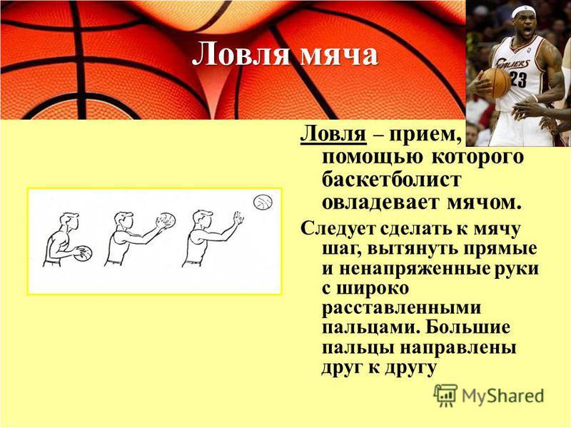 Ловля мяча Ловля – прием, с помощью которого баскетболист овладевает мячом. Следует сделать к мячу шаг, вытянуть прямые и ненапряженные руки с широко расставленными пальцами. Большие пальцы направлены друг к другу