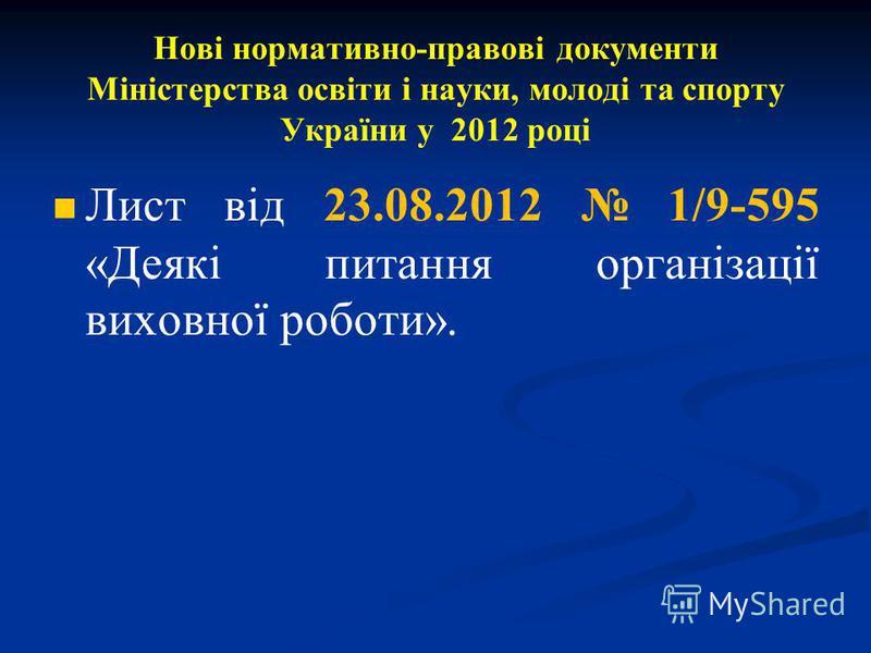 Нові нормативно-правові документи Міністерства освіти і науки, молоді та спорту України у 2012 році Лист від 23.08.2012 1/9-595 «Деякі питання організації виховної роботи».