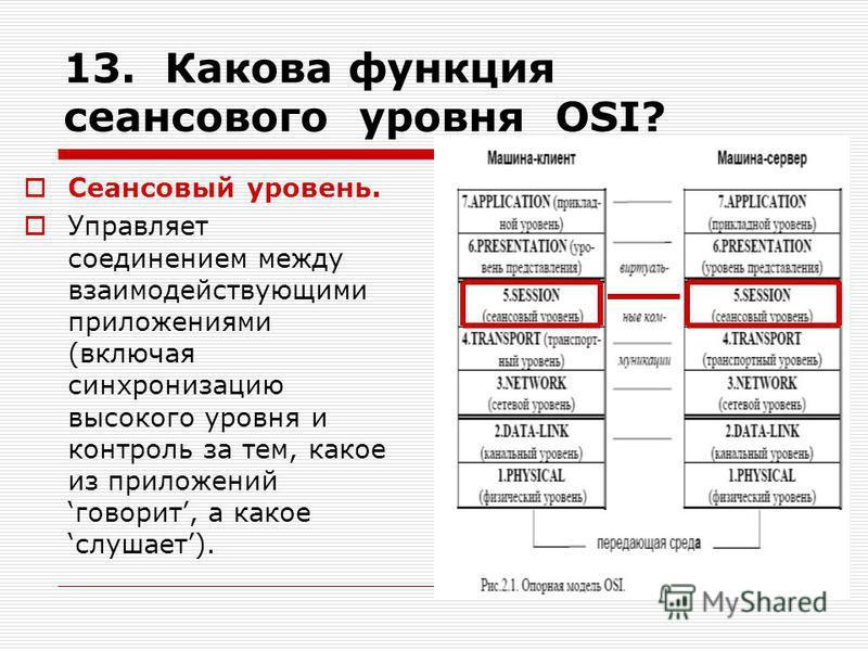 13. Какова функция сеансового уровня OSI? Сеансовый уровень. Управляет соединением между взаимодействующими приложениями (включая синхронизацию высокого уровня и контроль за тем, какое из приложений говорит, а какое слушает).