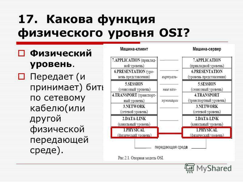17. Какова функция физического уровня OSI? Физический уровень. Передает (и принимает) биты по сетевому кабелю(или другой физической передающей среде).