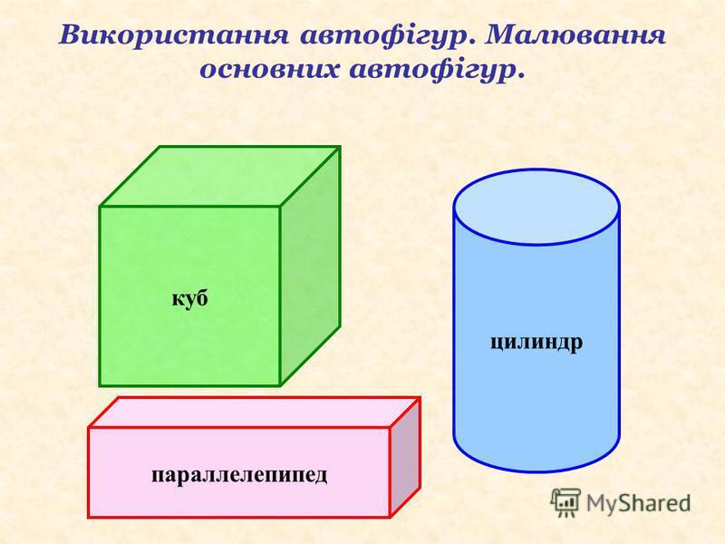 Використання автофігур. Малювання основних автофігур. цилиндр куб параллелепипед