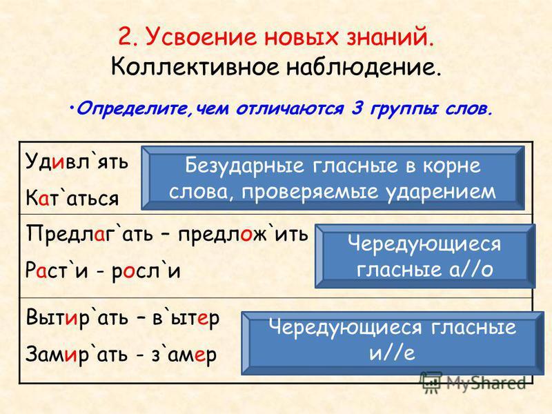 2. Усвоение новых знаний. Коллективное наблюдение. Определите,чем отличаются 3 группы слов. ` Удивл ` ять ` Кат ` аться `` Предлаг ` ать – предложить `` Раст ` и - росл ` и `` Вытир ` ать – в ` ытер `` Замир ` ать - замер Безударные гласные в корне с