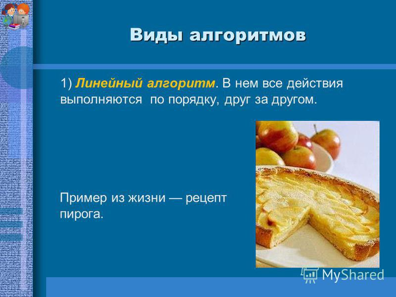 Виды алгоритмов 1) Линейный алгоритм. В нем все действия выполняются по порядку, друг за другом. Пример из жизни рецепт пирога.