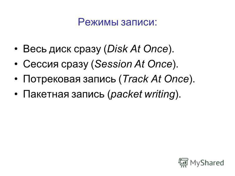 Режимы записи: Весь диск сразу (Disk At Once). Сессия сразу (Session At Once). Потрековая запись (Track At Once). Пакетная запись (packet writing).